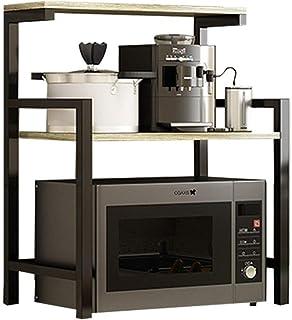 LINPAN Rangement Cuisine Organisateur étagère Bois 3 Niveau Micro-Ondes Support Support de Rangement avec Spice Rack Organ...