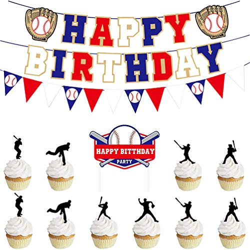 PRETYZOOM 15pcs Junge Geburtstag Dekortion Baseball Thema Geburtstag Happy Birthday Banner Cake Topper Kindergeburtstag Geburtstagsfeiern Deko