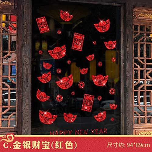 Hfwh Wandsticker, Happy New Year Deur Window Flower Spring Festival Wall Decor DIY PVC Afneembare muurverf C. Gold- Und Silberschatz (Rot) - Qr6109