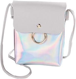 DIEBELLAU Women's New Wild Fashion Shoulder Bag Fashion Ring Mobile Phone Handbag (Color : Gray)