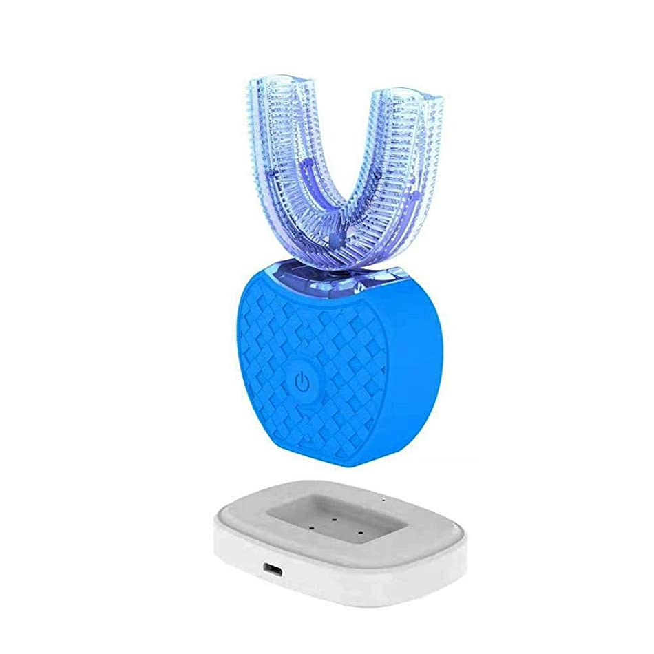いくつかの再集計溢れんばかりの新しい電動歯ブラシ、V-white超音波歯ブラシは全自動で360°全方位で洗浄して、歯をきれいにして、歯茎をマッサージして、美白します。 (ブルー) [並行輸入品]