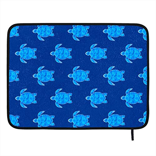 Dish Drying Mat for Kitchen,Absorbent Drying Pad Dishes Drainer Mats Pot Holder 18×16in Ocean Blue Sea Turtle Dark Blue