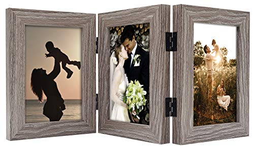 Golden State Art, Decorative Hinged Table Desk Top Picture Photo Frame, 3 Vertical Openings, with Real Glass (4x6 Triple, Grey, 1-Pack)