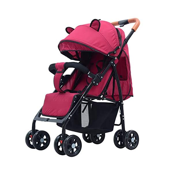 CYCPACK Red Folding Portable Baby Stroller - Prams And Pushchairs From Birth, Buggy with Lying Function, Shockproof Baby Trolley Suitable for Babies Aged 0~3 CYCPACK Safe:With sturdy aluminum alloy, compact body and five-point seat harness,each stroller has been pressure tested to provide security for each baby.After using for a period of time, be sure to add lubricant to the bearings of the four wheels to prevent the wheels from being damaged by force. Quality and Design:The backrest of the stroller supports sitting, half lying, lying,all three angles,lengthened and widened sleeping basket. Four wheel independent shock absorbing and built-in bearings make it smoother and quieter. COMFORTABLE: Thanks to backrest and footrest adjustable into lying position, sun hood, practical cup holder tray, and large shopping basket both the parents and the child will be comfy 1