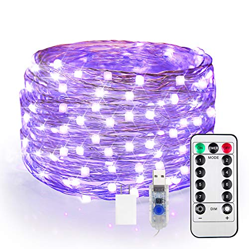 40ft LED UV Black Light, 120 Units 2835 LED UV Lamp Beads 8 Modes Flexible Blacklight Fixtures Fairy String Lights with Remote for Fluorescent Dance Party Stage Lighting Body Paint Halloween Decor