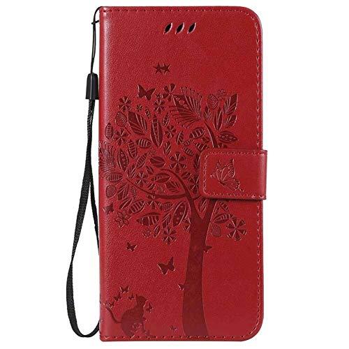 QiuKui Case para LG STYLO 5, Caja de Cuero de árbol 3D para LG Q Stylus 4 Q8 2018 G8 V50 V40 Thinq X Power 3 Aristo 2 Plus K8 K9 K10 K11 (Color : Red, Material : Q Stylus (Stylus 4))