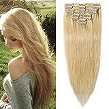 Clip in Extensions Echthaar Blond #613 Haarverlängerung 8 Teile 18 Clips Remy Human Hair guenstig Glatt Haarverdichtung 50cm-70g