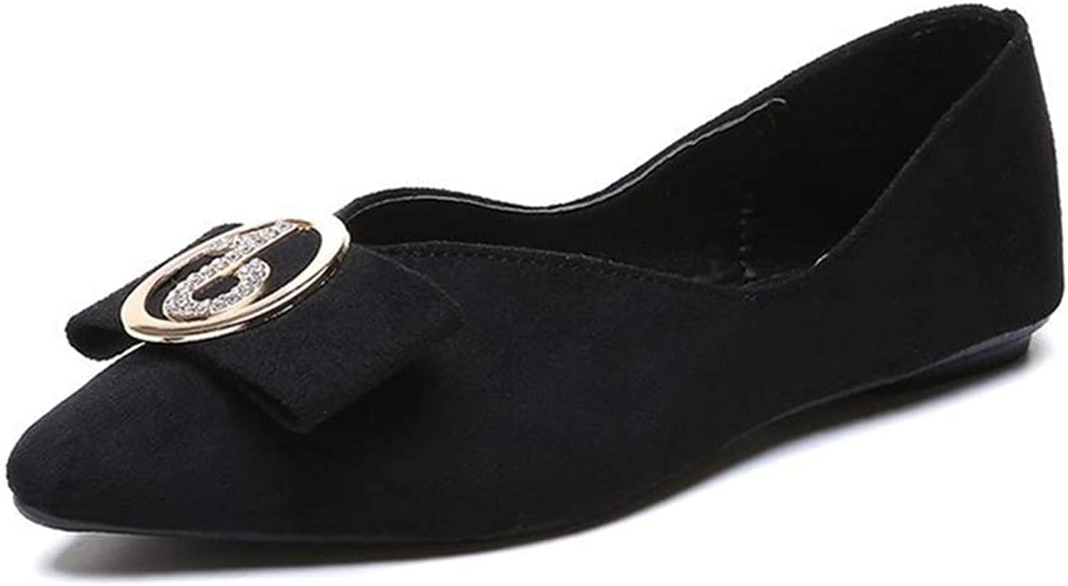 YUHJ Women's Round Buckle Flat with Single shoes Women's shoes Fashion Mother