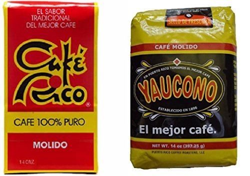 Puerto Rican Variety Pack Ground Coffee - 2 Local Favorites Yaucono, Rico (1 Pack)