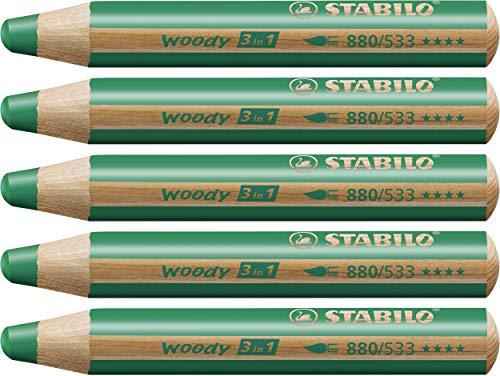 Matita colorata Multi-Funzione - STABILO woody 3 in 1 - Confezione da 5 - Verde Scuro