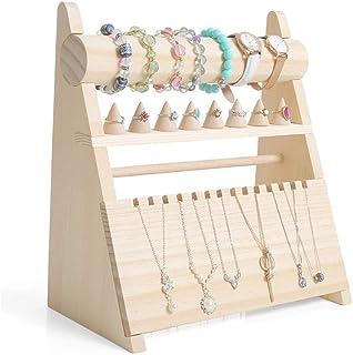 Jewelry Rack الخشب عرض مجوهرات حامل التخزين منظم حامل للحلقات، قلادات، أساور Jewelry Stand