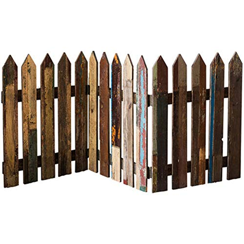 N / C Miniature garden decorative fence, solid wood fence, shooting props, wood grain rectangular cut flower retro style, safe, healthy and environmentally friendly