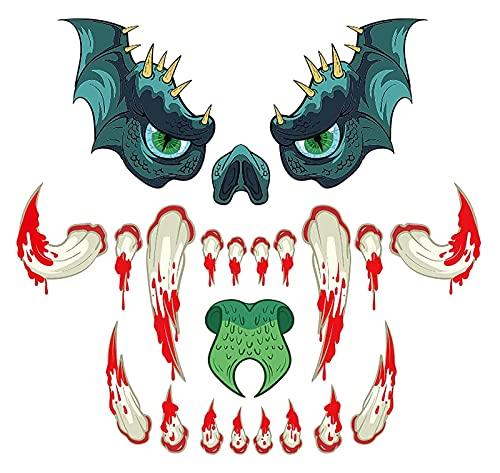 Halloween Monster Face Sticker Garaje al aire libre Puerta Monstruo Etiqueta Etiqueta de miedo Ojos de la nariz Colmillos de Halloween Decoración de la puerta de la puerta de la puerta de la ventana d