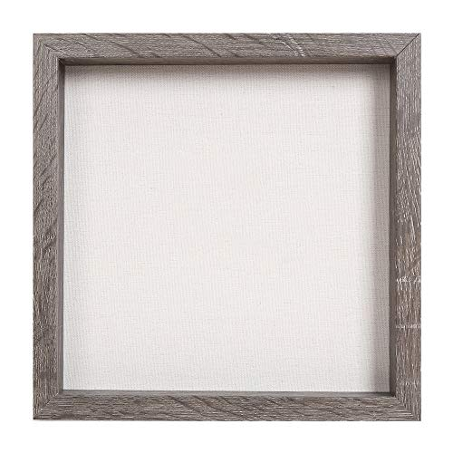 Muzilife 3D Bilderrahmen zum Befüllen 25x25cm Tiefe Box Objektrahmen mit Glasscheibe 1 Stück, Grau Holz