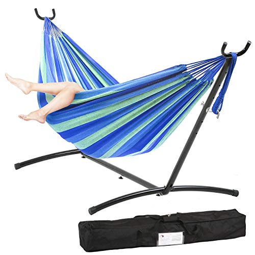 FDW Hammock Stand with Hammock Hammock Stand Portable Hammock Stand Heavy Duty Steel Standfor Outdoor Patio or Indoor with Carrying Case