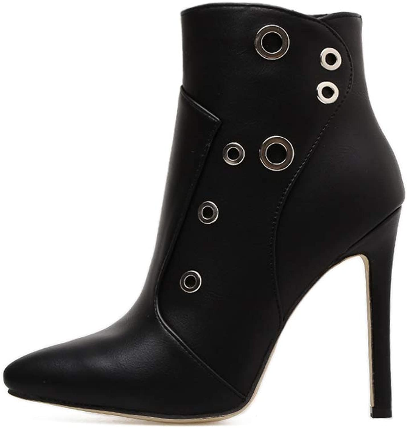 Women Autumn Winter Booties, Single shoes Stiletto shoes Fashion Pointed Toe High Heels(Black)