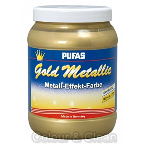 Pufas Gold Metallic Effect Metall-Effekt-Farbe 1,5 L goldener deckender Effekt
