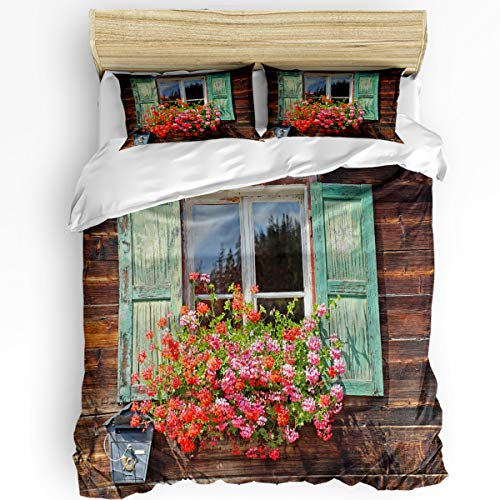 Soft Warm 3Pcs Duvet Cover Set for Boys/Girls Red Geraniums and Retro-Style Wooden Houses Outside The Window Luxury 1 Duvet Cover with Zipper and 2 Pillowcases for Bedroom, Washable California King