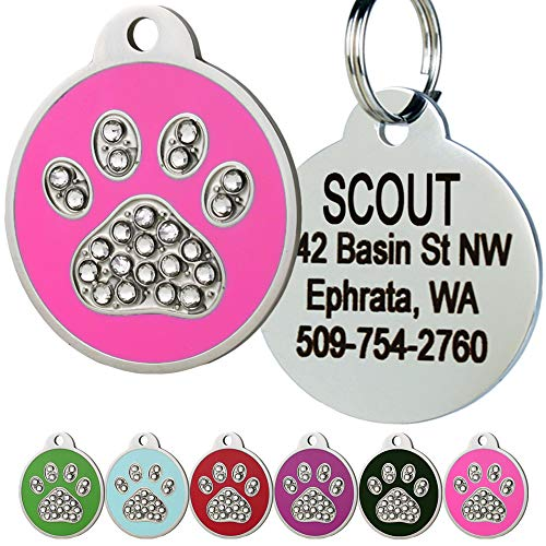 GoTags Paw Print, Stainless Steel Pet ID Tags with Swarovski Crystals for Dogs and Cats. Personalized, Engraved with up to 4 Lines of Custom Text in 6 Color Options.