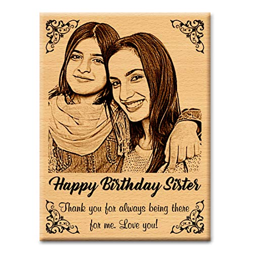 GFTBX Birthday Gift for Sister - Personalized Engraved Wooden Photo Frame with Photo Upload | Customized Gifts for Sister on her Birthday | Personalized Gifts for Birthday | Sister Gift (5x4in, Wood)
