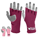 MRX Womens Training Boxing Inner Gloves Bandages MMA Fist Hand Wraps Protector Mitts (Burgundy, Medium)