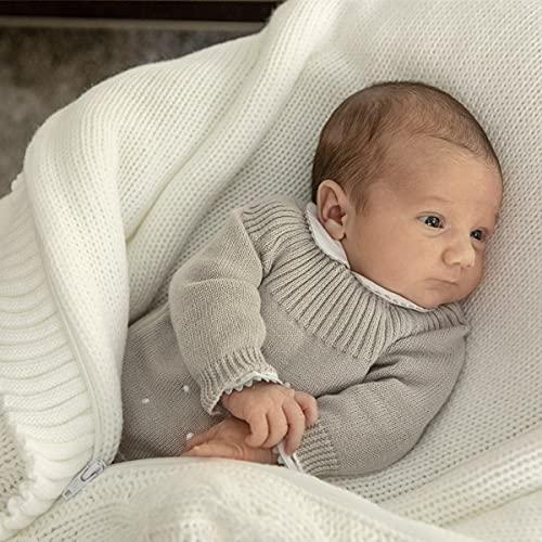 Minutus Jersey Bebé, Modelo Océano, 100% Algodón (Gris, 0-1 mes)