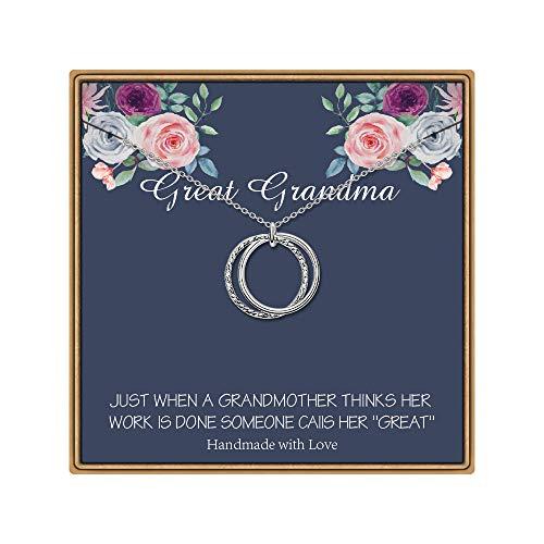 IEFLIFE Great Grandma Gifts, Infinity Circle Necklace Gifts for Great Grandma Great Grandma Necklace Interlocking Circle Necklace Great Grandma