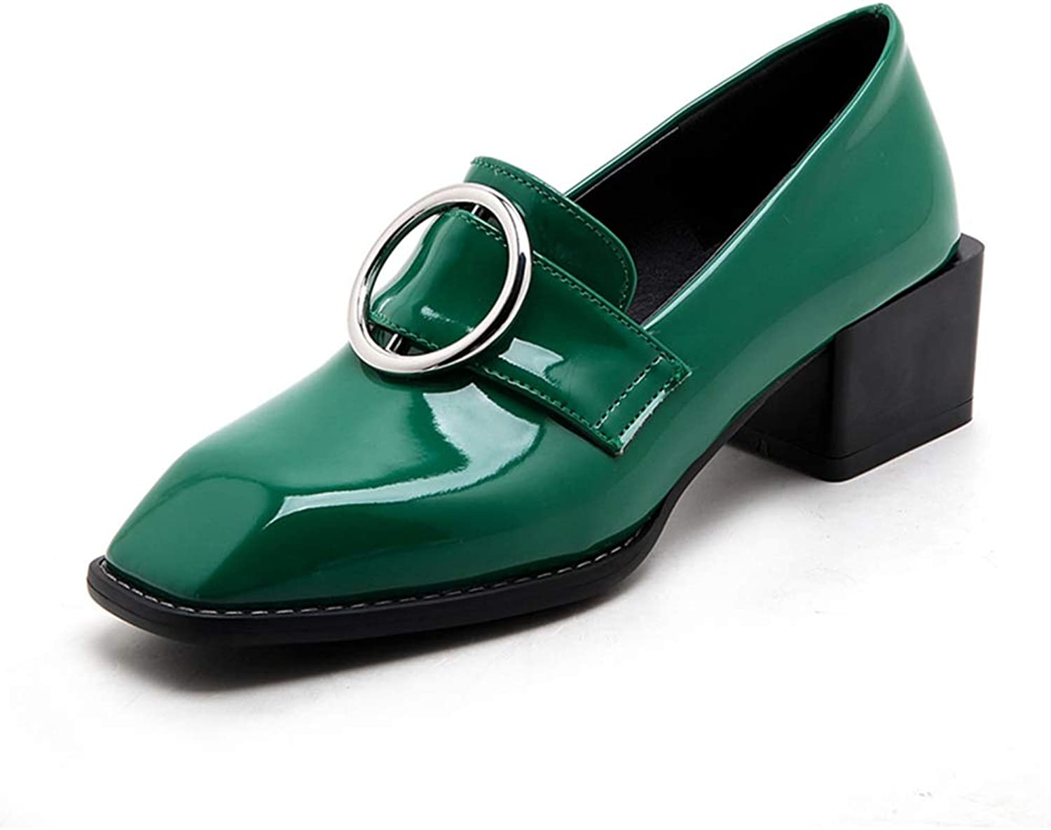 GIY Women's Square Toe Buckle Oxford shoes Patent Leather Slip On Mid Heel Dress Oxfords Loafer Pumps