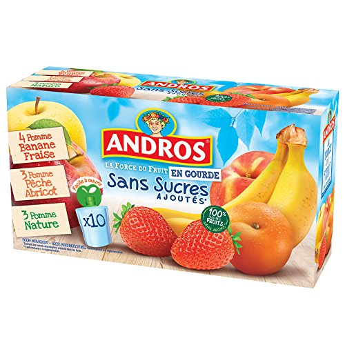 puissant Citrouille Andros Fruit Compote 3 types Sans sucre 10 × 90g
