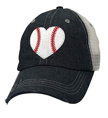 Cocomo Soul Embroidered Baseball Heart Baseball Love Baseball Mom Mesh Trucker Style Hat Cap Dark Grey