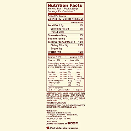 Oatmeal Packets by thinkThin, Instant Protein & Fiber Hot Oatmeal for On The Go- 10g Protein, 5g Fiber, Vegan - Madagascar Vanilla with Almonds and Pecans, 1.76 Ounce (6 Count)