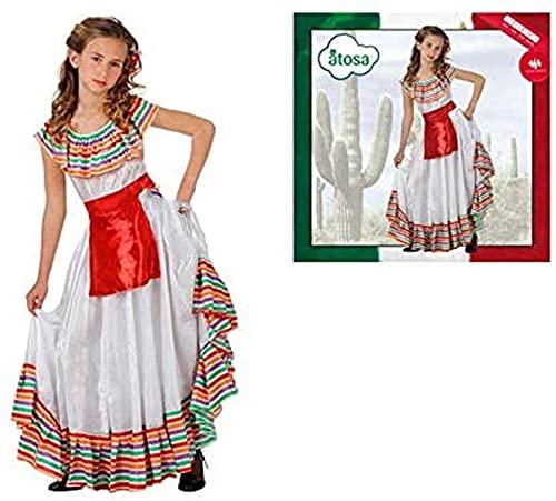 Genérico Disfraz de 3 Piezas para Carnaval Infantil niña de Mejicana Color Blanco. Mexican Girl. Talla 10/12 años de niño y niña. Cosplay niña Carnaval.