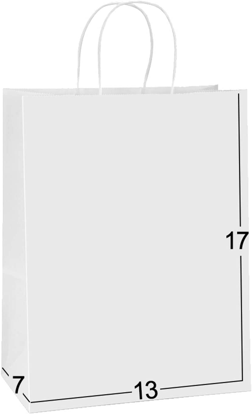 Paper Bags 13x7x17 50Pcs BagDream Gift Bags, Party Bags, Shopping Bags, Retail Bags, Merchandise Bags, Recyclable White Kraft Paper Bags with Handles Bulk