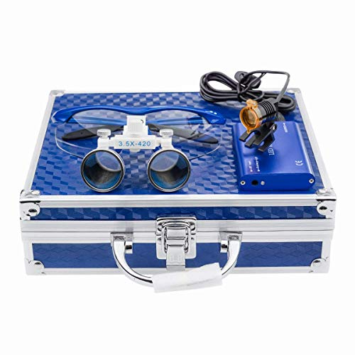 Global Dental 3W LED Clip-on Headlight with Filter 3.5x420mm Medical Binocular Loupes Blue Aluminum Box