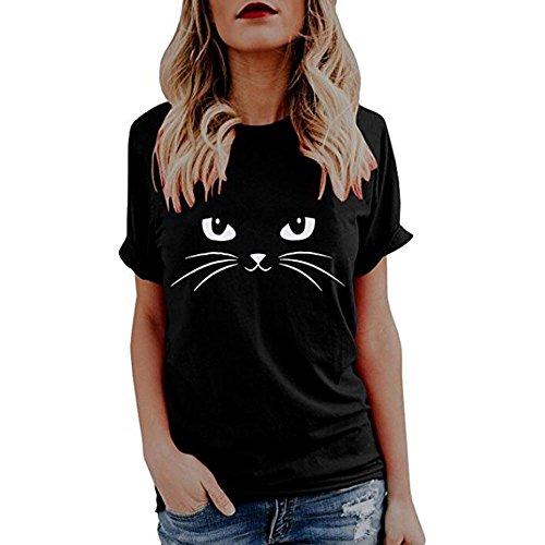 Yesmile Camiseta de Mujer Tops Negro Blusa Causal Ocasionales Camiseta Causal de Las Mujeres Ocasionales de Manga Corta O-Cuello Tops Gato Impreso (Negro A, L)