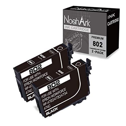 NoahArk 2 Packs 802 Remanufactured Ink Cartridge Replacement for Epson 802 802XL T802 T802XL High Yield Ink for Workforce Pro WF-4720 WF-4730 WF-4740 WF-4734 EC-4020 EC-4030 EC-4040 Printer(2 Black)