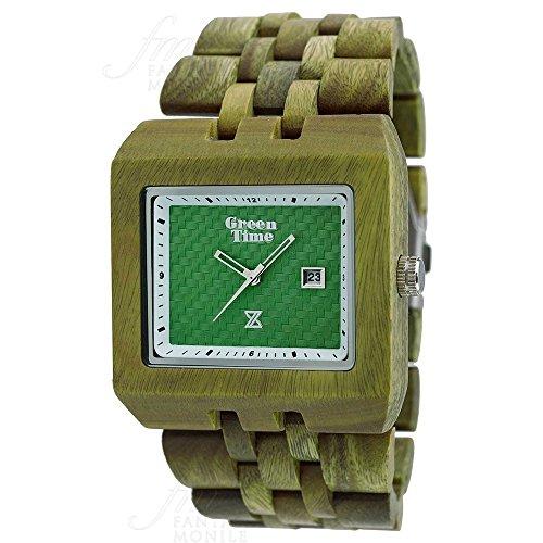Orologio Green Time Square Uomo Legno Acero Timewood Quadrato Verde ZW004D