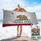 Microfiber Beach Towel California Flag Quick Dry Towels Light Convenient Pool Beach Bath Towel Blanket for Camping, Sports, Beach,Yoga, Gym Travel 31.5'X63'