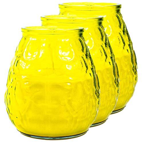Juego de 3 portavelas de cristal (amarillo) con vela, diseño oriental colorido, para velas de té y velas pequeñas, 6 cm de altura, decoración cálida de mesa