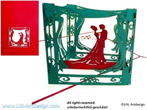 Lin de Pop up Cartes de mariage mariage mariage cartes, invitations, cartes 3D Cartes de vœux mariage, Félicitations, couple de mariés dans le pavillon