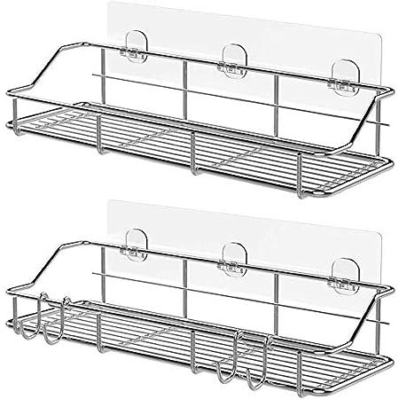 浴室ラック バスルームラック お風呂ラック ステンレス 強力粘着固定 水切り キッチン用ラック バス用品 収納ラック - 2個