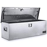 ARKSEN 49' Aluminum Diamond Plate Tool Box Pick Up Truck Bed Storage Chest Box RV Trailer Organizer Lock W/Key, Silver