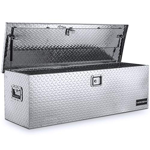 "ARKSEN 49"" Aluminum Diamond Plate Tool Box Pick Up Truck Bed Storage Chest Box RV Trailer Organizer Lock W/Key, Silver"