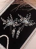 TSP Juego de accesorios para el pelo de novia con cristales de estrás azules, alfileres y pendientes para el pelo de las mujeres, adornos para el pelo de novia (color: azul)