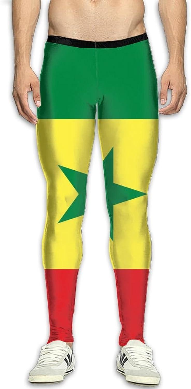 Nollm Flag of Senegal Compression Men's Gym Training Pants Baselayer Running Tights
