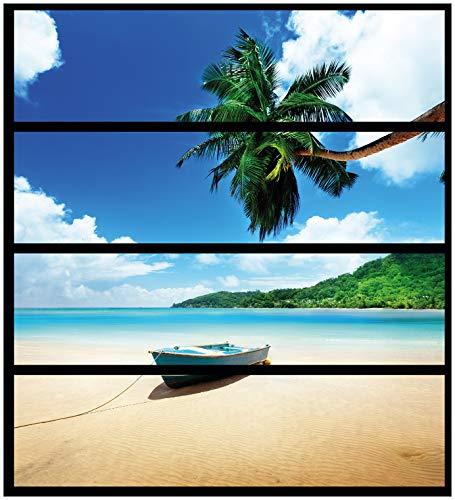 Wallario Möbelfolie/Aufkleber, geeignet für IKEA Malm Kommode - Urlaub am Palmenstrand unter Palmen mit Fischerboot mit 4 Schubfächern