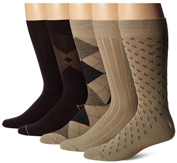 Dockers Men s 5 Pairs Classic Argyle Asst Pattern Dress Crew Socks Khaki Assorted Shoe Size  6-12