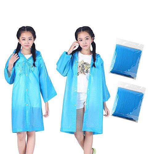 Changlesu Regenmäntel für Kinder 2 STÜCKE Kapuzenjacke Regenanzug Regen Poncho Regenmantel Abdeckung Lange Regenbekleidung Regenmantel Blau