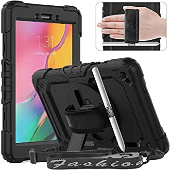 Timecity Samsung Galaxy Tab A 8.0  2019 Case  Fit for SM-T290  Heavy Duty Protective Case with Swivel Stand Tablet Cover with Screen Protector Hand Strap Shoulder Strap Kids Case Black