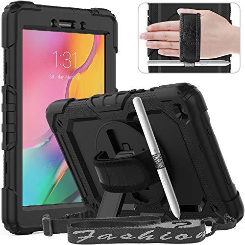 Timecity Funda Compatible con Samsung Galaxy Tab A 8.0'2019 / SM-T290/ T295, con Protector de Pantalla Incorporado y Pata de Cabra Giratoria de 360 Grados y Correa de Mano y Hombro - Negro